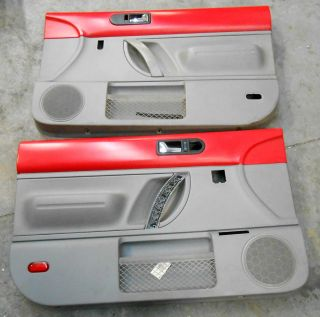 VW Beetle Bug Front Inside Interior Door Panel Red 98 05 Set