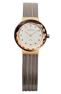 Skagen Round Striped Mesh Strap Watch