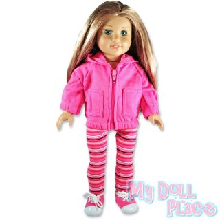 Doll clothes fit American Girl *3 pc Pink Striped Leggings Hoodie
