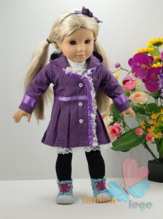 4pc Purple Doll Clothes Outfit for 18 American Girl New