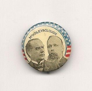 McKinley Clough jugate coattail political button pinback pin