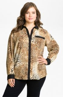 Nexx Silk Animal Print Blouse (Plus)