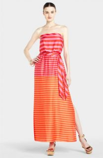 BCBGMAXAZRIA Stripe Strapless Maxi Dress