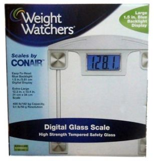 Conair Weight Watchers Extra Large Digital Scale Glass Platform LCD