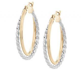EternaGold Two tone Double Hoop Earrings 14K Gold —