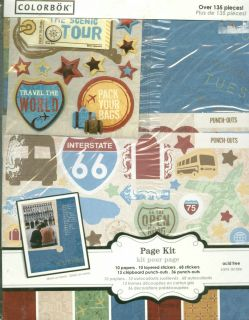COLORBOK TRAVEL SCRAPBOOK PAGE KIT PAPER LETTERS STICKERS PUNCH OUTS 8