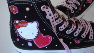 black converse featuring swarovski crystals hand painted hello kitty