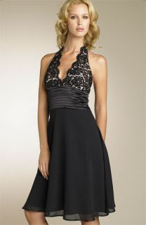 JS Boutique Beaded Lace Halter Dress