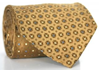 Alexander Julian Colours Gold Light Blue Cream Geometric Silk Mens