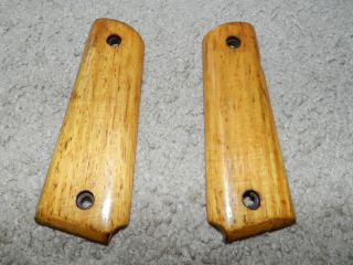Colt 1911 pair set 45 cal grips wood vintage gun pistol no screws