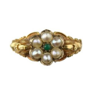 Victorian Antique Gold Seed Pearl Daisy Cluster Ring