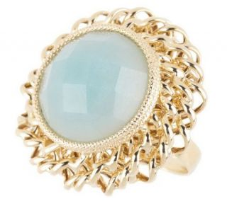 VicenzaGold Bold Faceted Gemstone Ring w/Woven Border 14K Gold