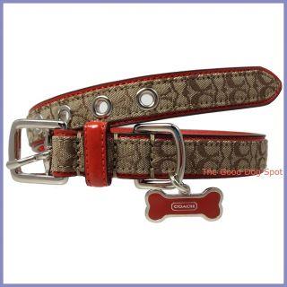 Coach Signature Geranium Leather Dog Collar with Bone Charm Medium