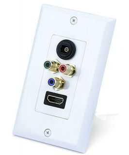 HDMI Component 3RCA Toslink Optical Wall Plate White