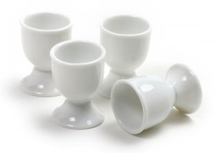 New Soft Boiled Egg Cup White Porcelain Set of 4 Cups Factory Seconds