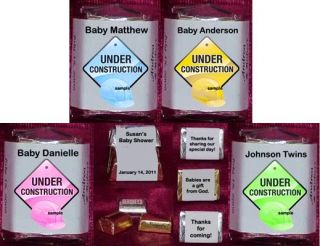 Under Construction Baby Shower Personalized Candy Wrappers Party