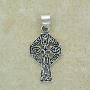 Irish Silver Celtic Cross with Link Knots Pendant   comes with 18