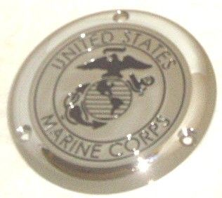 USMC CHROME & GLOSS BLACK LOGO DERBY & CAM COVER 3 HOLE HARLEY