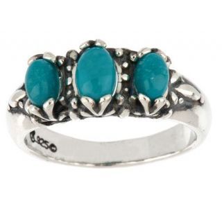 Sterling Sleeping Beauty Turquoise 3 Stone Band Ring —
