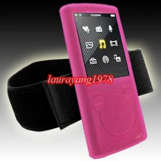 Pink Silicone Skin Case Armband for Sony Walkman NWZ E463 NWZ E464 NWZ