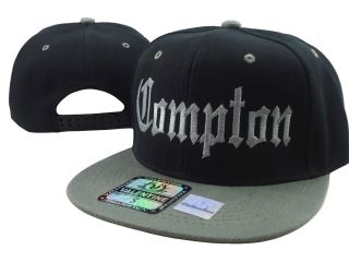 New Vintage Compton Flat Bill Snap Back Baseball Cap Hat Black Gray