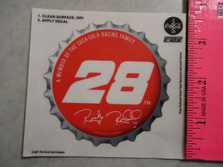 Coca Cola Racing Family Sticker Decal Ricky Rudd Yates Racing 28 2001