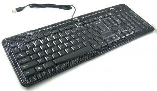 Black Crystal Rhinestone USB PC Computer Keyboard