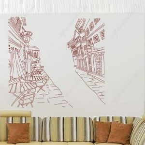Street and Coffee Shop Removable Vinyl Art Wall Decals