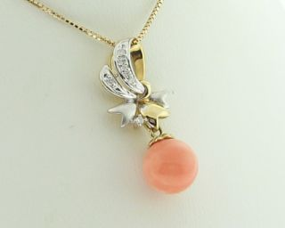 coral diamonds solid 14k two tone gold pendant charm