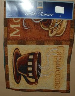Coffee Tapestry Table Runner Java Fabric Scarf Mocha