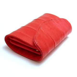 genuine eel skin leather small coin purse case red
