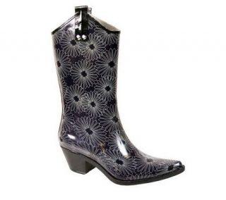 Nomad Yippy Western Style Purple Daisy Rain Boots —
