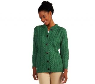 Kilronan Merino Wool Button Front Round Neck Aran Cardigan —