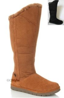 Sporto Faux Fur Shearling Lined Suede Tall Winter Boots Black Brown