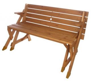 Merry Products Solid Wood Large 2 in 1 Picnic Table and Bench
