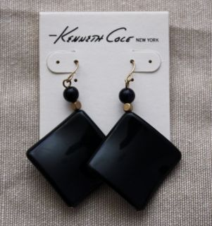 Kenneth Cole Jewelry Curved Rhombus Shape Earrings Black Gold Beads