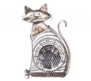 Deco Breeze Hand Sculpted Metal Decorative Small Cat Fan   H350825