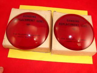 Fog King Teleoptic Red Glass Lenses in Boxes Vintage