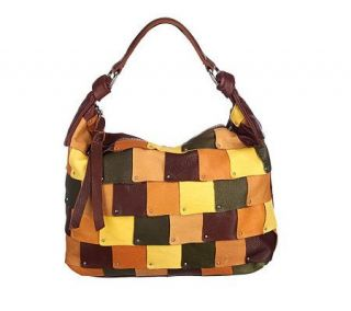 Makowsky Glove Leather Patchwork Design Zip Top Hobo Bag —