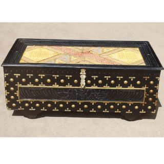 Sierra Solid Wood Hand Carved Coffee Table Storage Trunk Chest Box