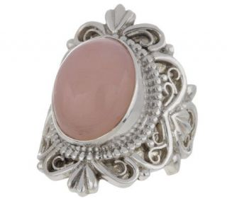 Artisan Crafted Sterling Bold Oval Pink Opal Ring —