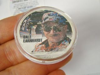 2001 NASCAR 7 TIME CHAMPION DALE EARNHARDT SR COLORIZED 1OZ .999