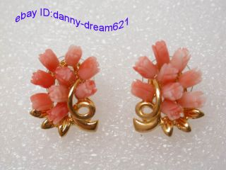 Classic Natural Pink Carved rose Flower Coral Earrings