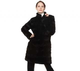 Dennis Basso Stand Collar Faux Fur Coat with Front Pockets   A220235
