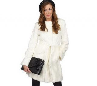 Luxe Rachel Zoe Faux Fur Collarless Coat with Belt   A96336