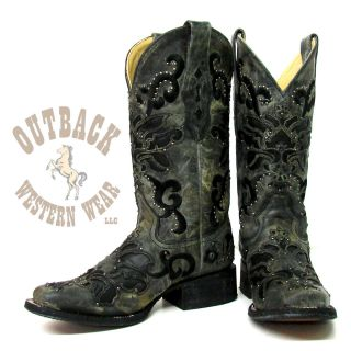 Corral Ladies Black Crater Overlay with Studs Boots A1130