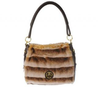 Dennis Basso Mink Faux Fur Hobo Bag with Exterior DB Logo Detail