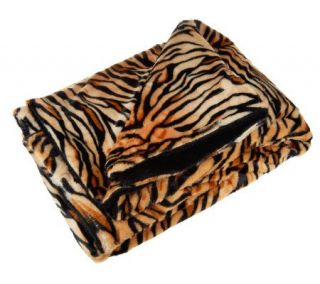 Northpoint Sheared Faux Fur Jungle Animal Print Blanket   H198037