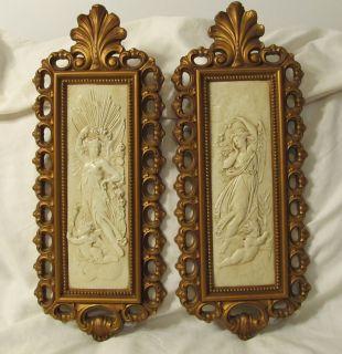 Homco Cherubs Angels Women Wall Plaques 7410 A B Vintage Gold White