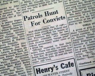 1937 Alcatraz Island Prison Convicts Escape Newspaper